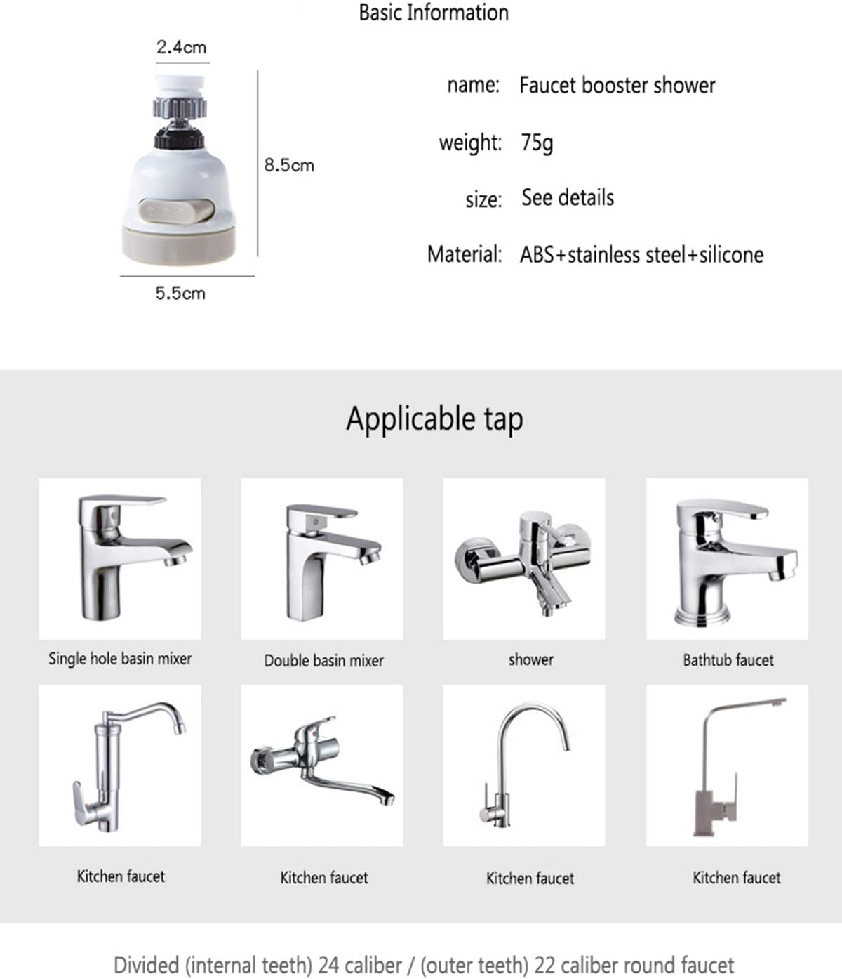 Water Faucet Filter,3 Modes Position Adjustable Sink Faucet Sprayer Head,High Water Flow Tap Water Head for Home Kitchen Bathroom,Booster Shower Water Saver