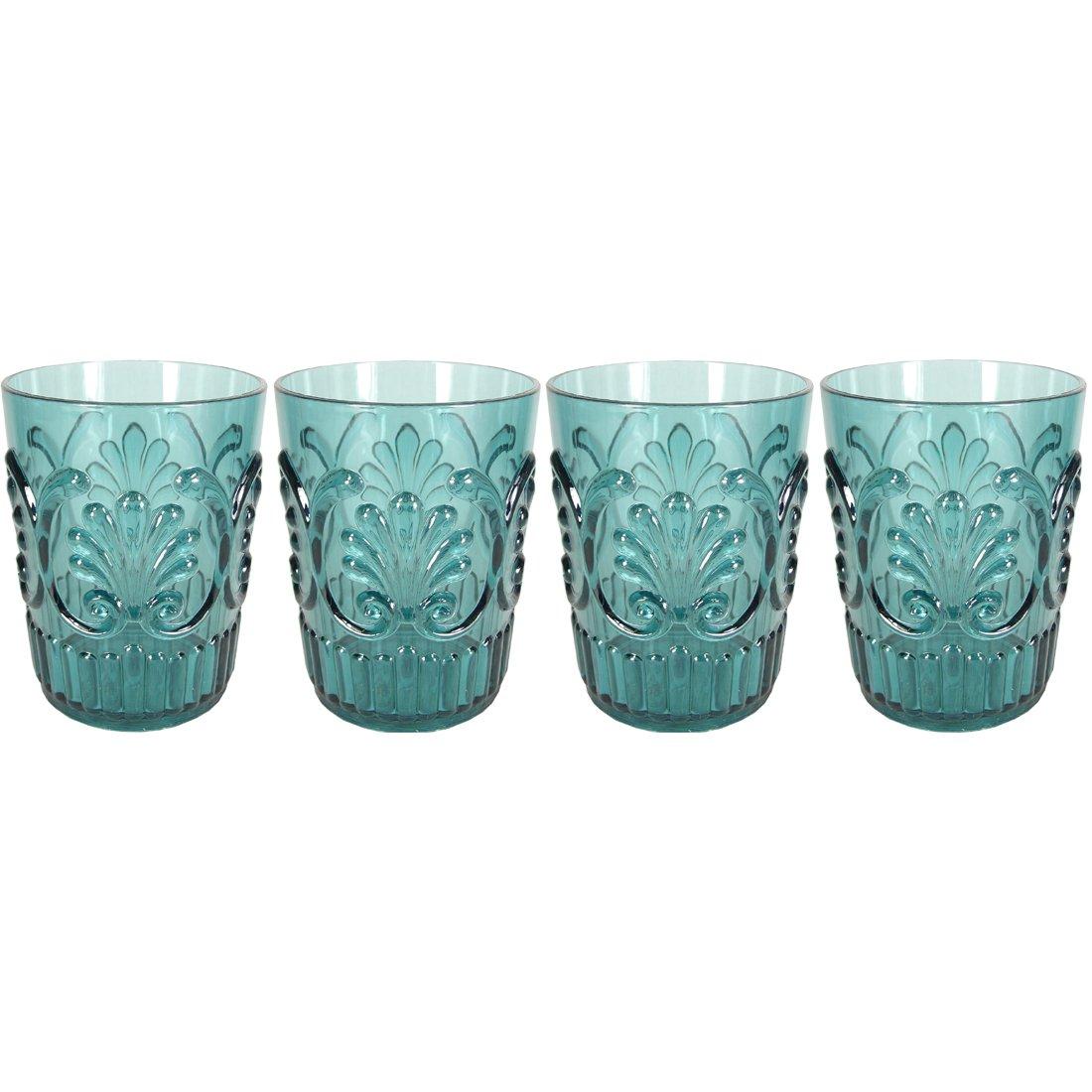 Le Cadeaux Fleur Teal Blue 4 Piece Water Glass Set LeCadeaux