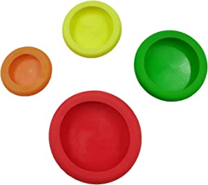 4 Different Sizes Fruit Silicone Cover Silicone Stretch Lids Can Lid Covers Keep Food Fresh Reusable Seal Food Preservation Lids for Vegetable/Fruit/Snack/Can (red,green,Orange,yellow)