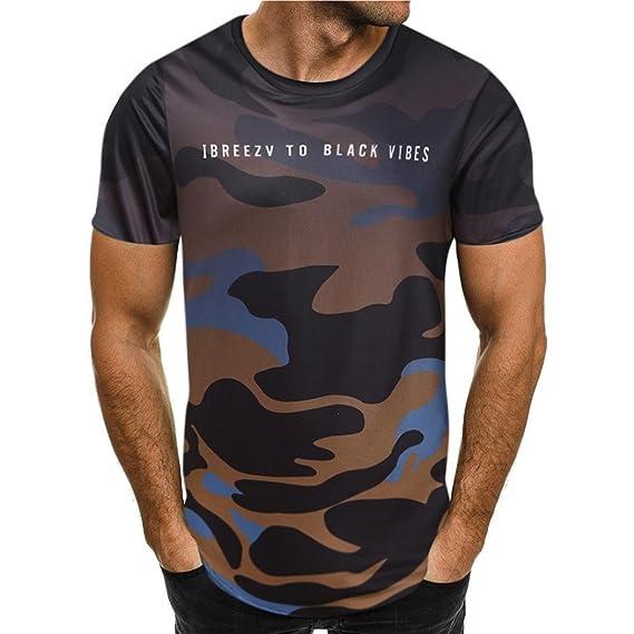 Camiseta para Hombre, 💝Xinantime Camiseta de Camuflaje Blusa Superior de Manga Corta Delgada Ocasional