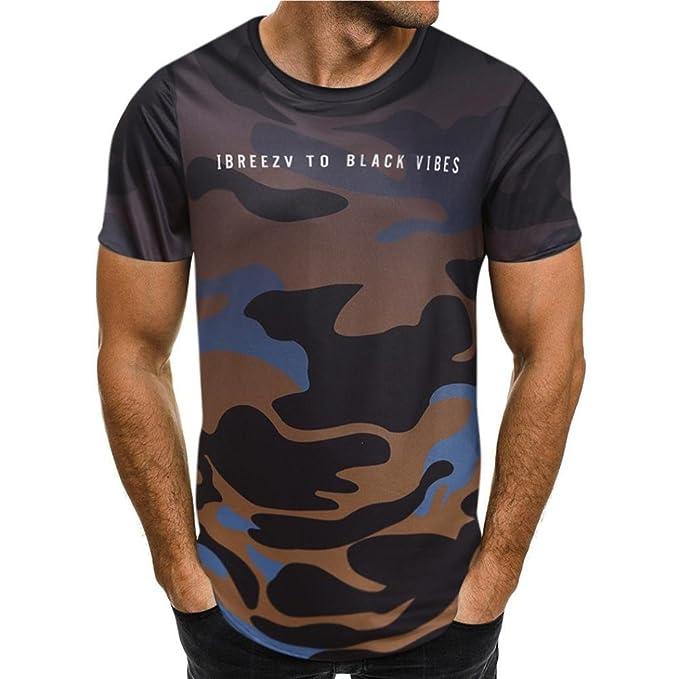 Camiseta para Hombre, 💝Xinantime Camiseta de Camuflaje Blusa Superior de Manga Corta Delgada Ocasional de los Hombres: Amazon.es: Ropa y accesorios