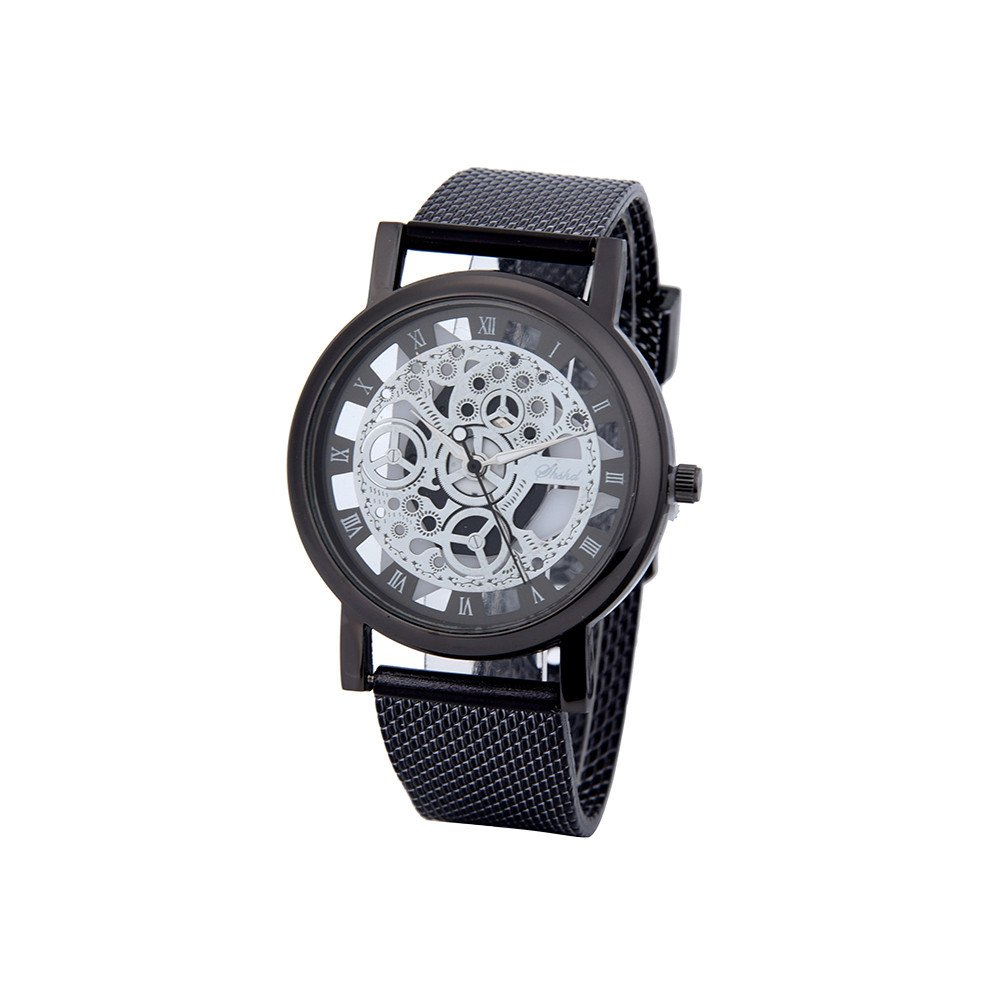 5b8a9cfec1d Creamdog❤ Men Luxury Stainless Steel Quartz Military Sport Plastic Band  Dial Wrist Watch (Black) at Amazon Men s Clothing store