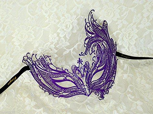 Purple Phoenix Clear Rhinestones Laser Cut Venetian Metal Filigree Masquerade Mask Party Ball Prom Event Halloween