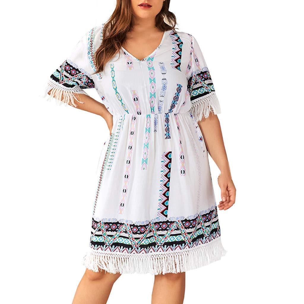 Plus Size T-Shirt Swing Dress for Women Striped Tassels Short Sleeve Vintage Elegant Party Casual Midi Dress