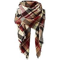 Women Plaid Blanket Scarf Winter Warm Cozy Tartan Wrap Oversized Shawl