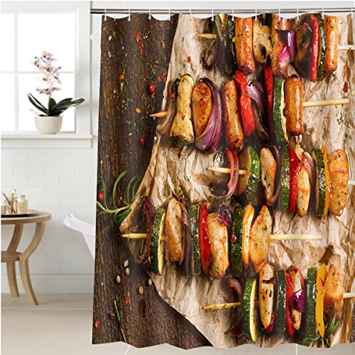 Gzhihine Shower curtain skewers of grilled meat and vegetables Bathroom Accessories 72 x 84 inches (Meat Axe Flag)