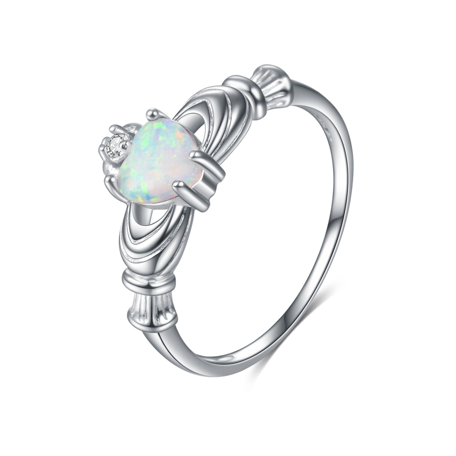 amazon sterling silver irish claddagh ring simulated fire opal Spoill Lab amazon sterling silver irish claddagh ring simulated fire opal promise ring for women engagement jewelry