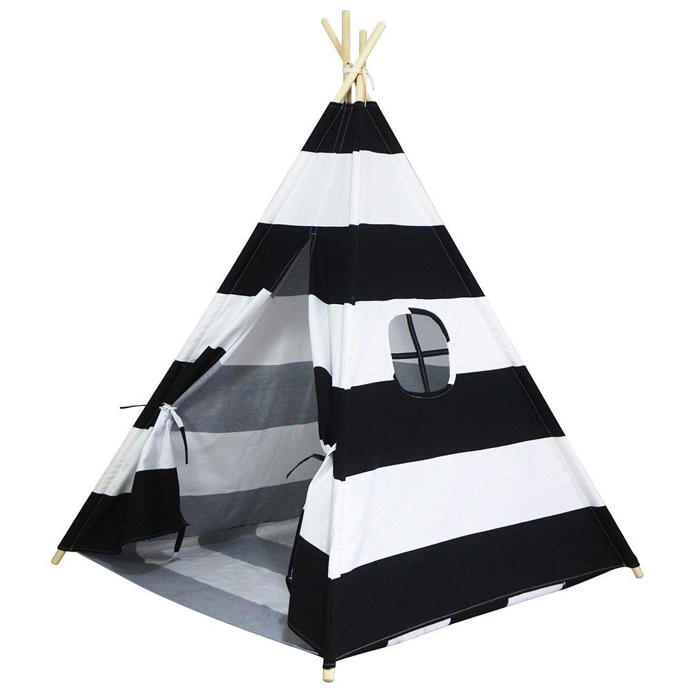 Amazon.com Dream House Kids Play Indian Teepee Hideout Wigwam Tent (Black Stripes 4 Sides with Floor Mat) Toys u0026 Games  sc 1 st  Amazon.com & Amazon.com: Dream House Kids Play Indian Teepee Hideout Wigwam Tent ...