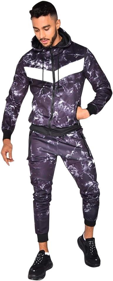 Men Tracksuit Autumn Fashion Casual Men Fitness Set Patchwork Hooded  Sport Suit