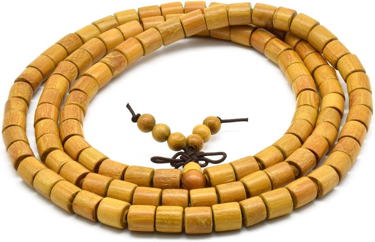 Zen Dear Natural Golden sándalo mexicana Bocote Mala oración pulsera enlace muñeca collar perlas: Amazon.es: Joyería