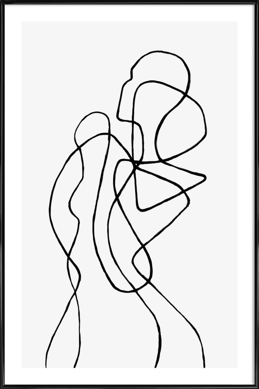 """JUNIQE® Bild mit Rahmen 60x90cm Schwarz & Weiß  Herrenchen - Design """"Figuratone  (Format: Hoch) - Wandbilder, Gerahmte Bilder & Gerahmte Poster von unabhängigen Künstlern - Abstrakte und moderne Kunst - entworfen von Peytil"""