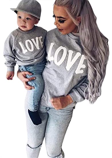 045b7c52a72d Amazon.com: Family Matching Mother Daughter Son Letters Print Hoodie Long  Sleeve Sweatshirt: Clothing