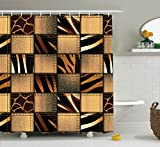 Ambesonne Plaid Shower Curtain Safari Decor, Jeans Denim Patchwork in Safari Style Animal Leopard Print Stylish Fashionable Design Art Theme, Polyester Fabric Bathrooms Sets Brown with Hooks, Black