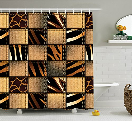 Ambesonne Plaid Shower Curtain Safari Decor, Jeans Denim Patchwork in Safari Style Animal Leopard Print Stylish Fashionable Design Art Theme, Polyester Fabric Bathrooms Sets Brown with Hooks, Black by Ambesonne