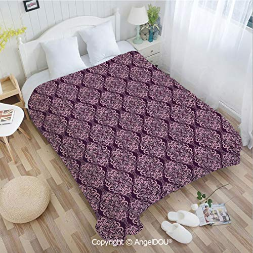 AngelDOU Warm air Conditioner Flannel Blanket W55 xL72 Victorian Romantic Damask Floral Oriental Swirl Pattern Artwork Image for Bed Cover Sofa car use.
