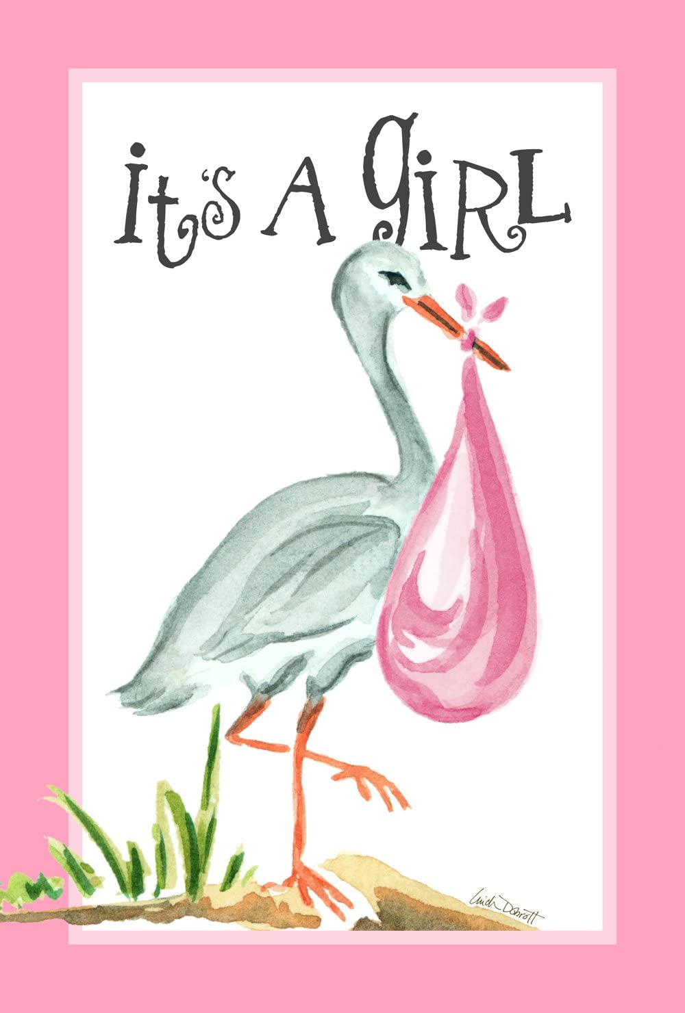 Toland Home Garden It's a Girl 12.5 x 18 Inch Decorative Cute New Baby Pink Stork Garden Flag