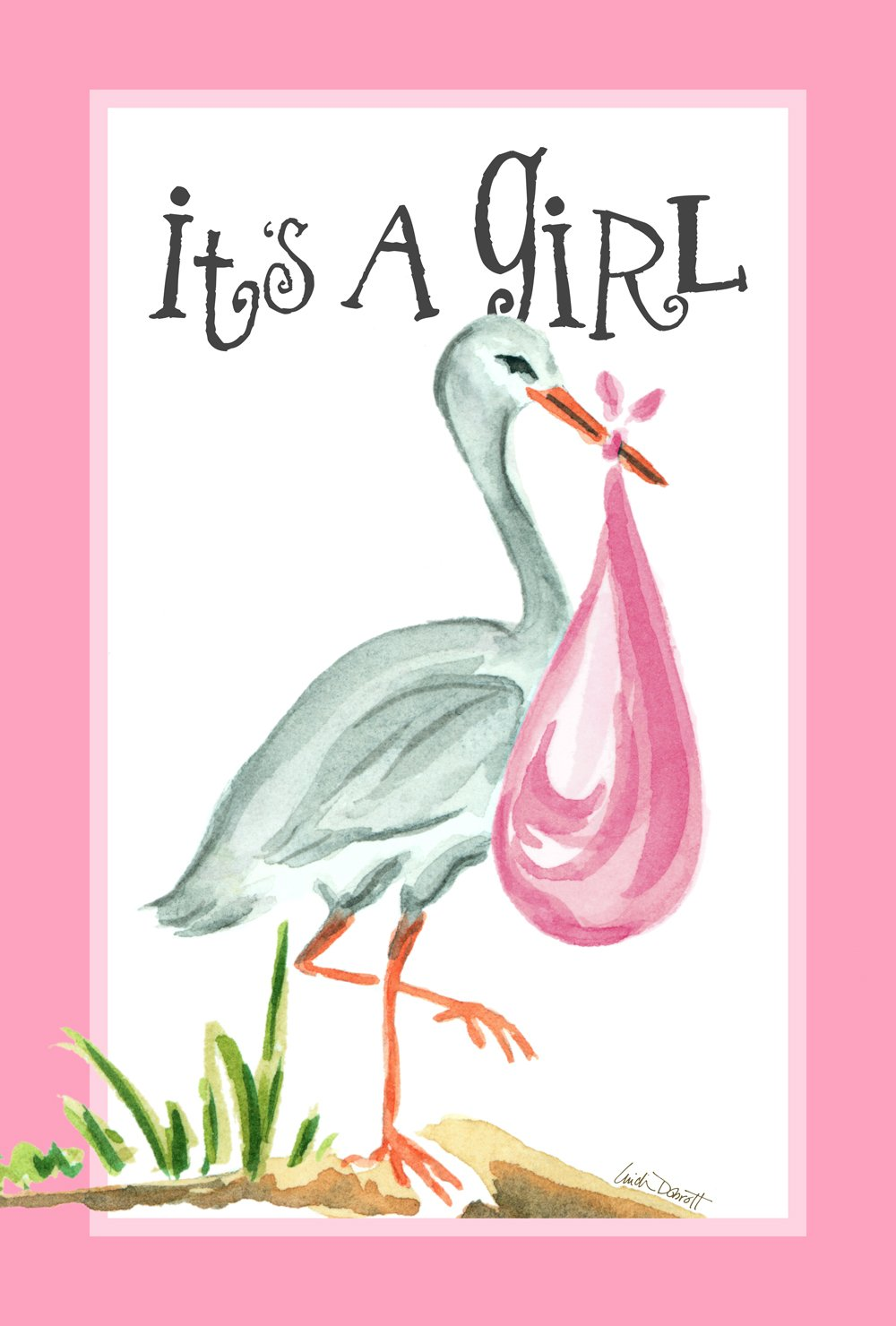 Toland Home Garden It's a Girl 28 x 40 Inch Decorative Cute New Baby Pink Stork House Flag
