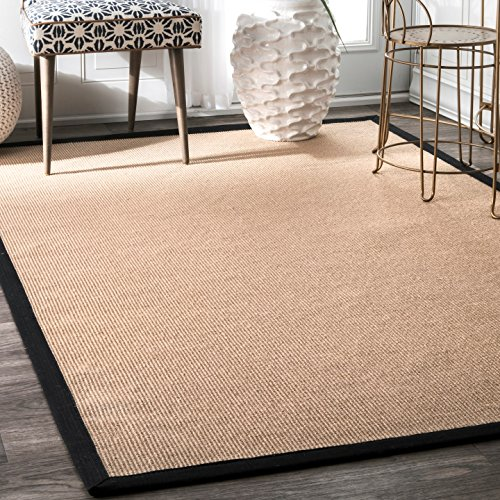 nuLOOM Natura Collection Laurel Jute Casuals Natural Fibers Machine Made Area Rug, 8-Feet by 10-Feet, Black