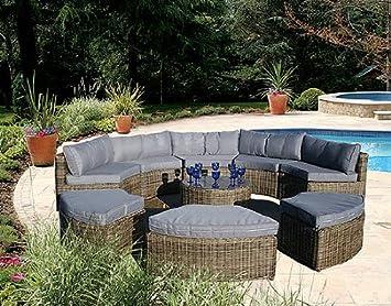 Curved Modular Rattan Garden Furniture Set   9 PieceCurved Modular Rattan Garden Furniture Set   9 Piece  Amazon co uk  . Rattan Garden Furniture Uk. Home Design Ideas