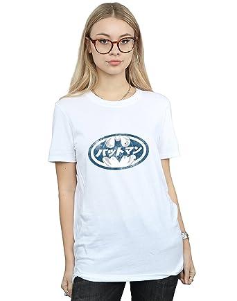615948461 Amazon.com: DC Comics Women's Batman Japanese Logo White Boyfriend Fit T- Shirt: Clothing