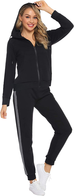 Aibrou Surv/êtement Femme Deux Pi/èces Ensembles Sportswear Sweat Zipp/é /à Capuche Pantalon Sports V/êtements de Fitness Pyjama Tenue dint/érieur Casual Chic