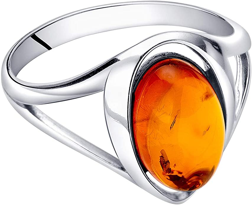Baltic amber ring with sterling silver contemporary design ooak ready to ship one of a kind item modern womens jewelry size US 6 12
