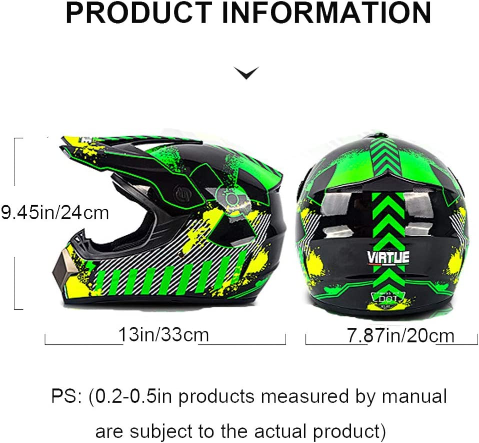 OURLOVE Motocross Casco de Adultos ATV Protectora Calentamiento del Casco Accesorios Gafas Protector Facial Guantes 4 Pack Verde Pintada en Color,M Neutral de la Motocicleta de Motocross Casco