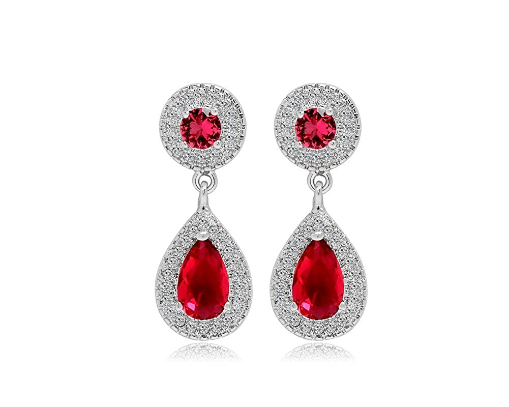 Wedding Water Drop Ruby Crystal Dangle Earring with Cubic Zirconia Boxed Valentines Gift