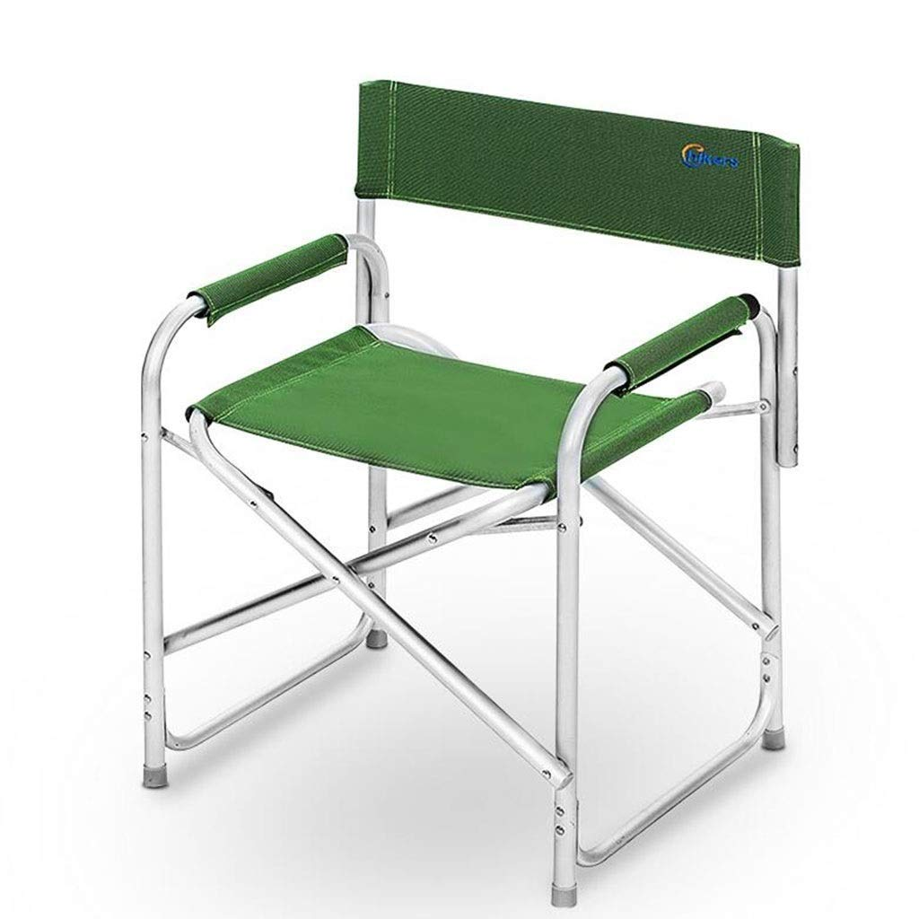 Outdoor Portable Folding Chair Camping Stool with Backrest Handrail Ultralight Picnic Travel Fishing Mountaineering Barbecue Park Adventure Beach 2 Colors Optional (Color : Green)