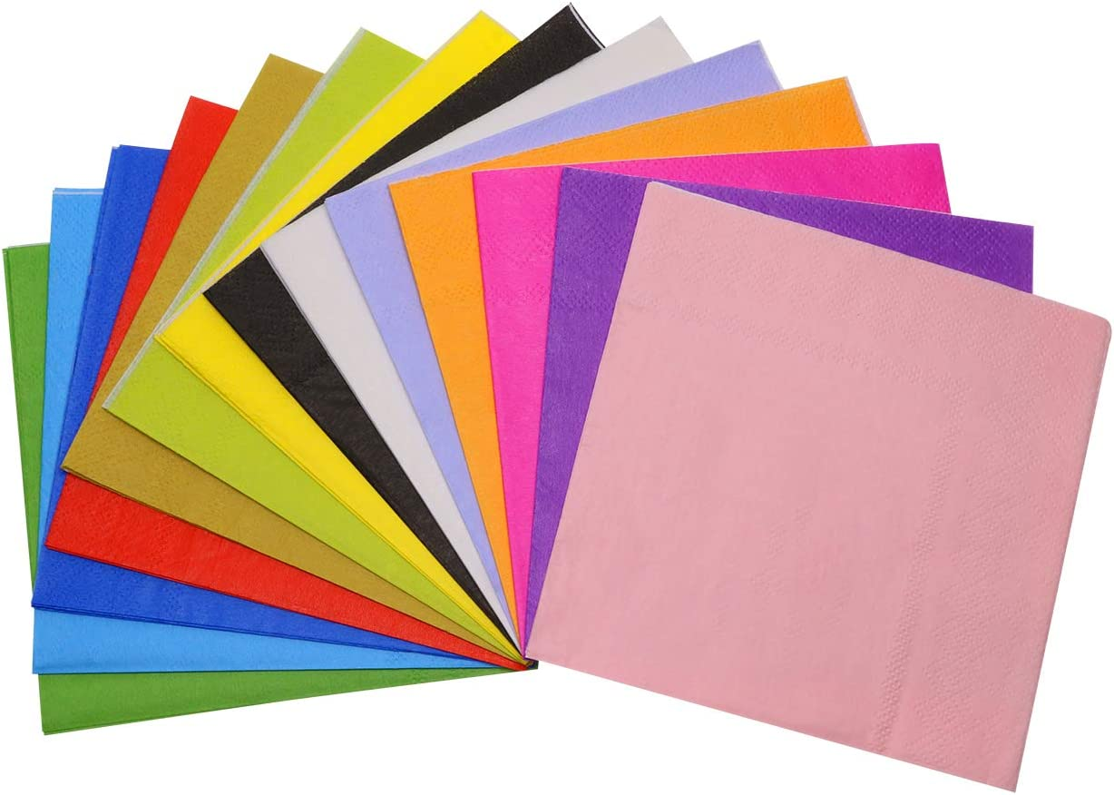 Shapenty 14 Colors Paper Beverage CocktailDinner Luncheon Napkins for Rainbow Themed Party Supplies Decor Event Neon Plates Cups, 5 x 5 Inch, 28PCS
