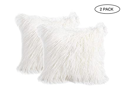 Amazon Com 2 Pack Fluffy Throw Pillow Covers White 18x18 Inch
