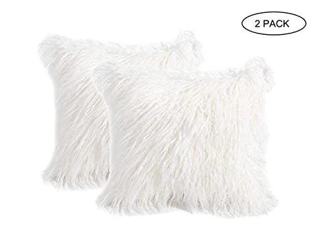 2 Pack Fluffy Throw Pillow Covers White 18x18 inch/45x45cm, Soft Cuddly Faux Mongolian Fur Cushion Cover for Bed & Couch Decorative Furry Throw Pillow ...