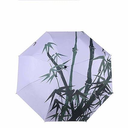 BiuTeFang Paraguas plata de plástico sombrillas de alta calidad paraguas estilo chino paraguas paraguas plegable protección