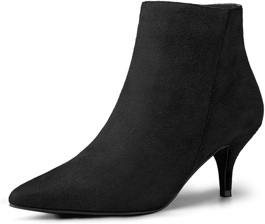 Allegra K Womens Pointed Toe Zip Stiletto Kitten Heel Ankle Booties