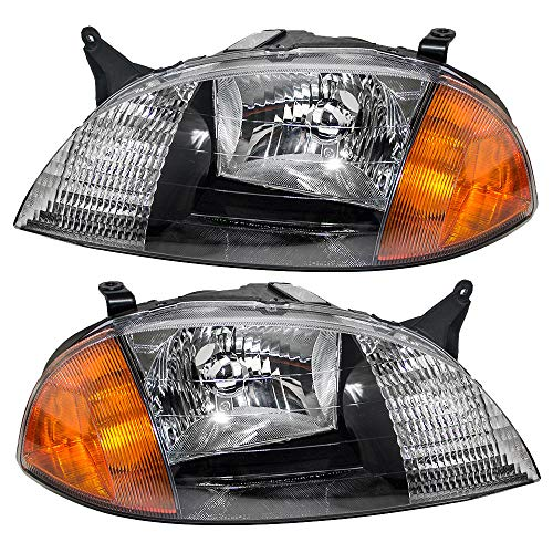 Driver and Passenger Headlights Headlamps Replacement for Chevrolet Suzuki 91175607 91175606