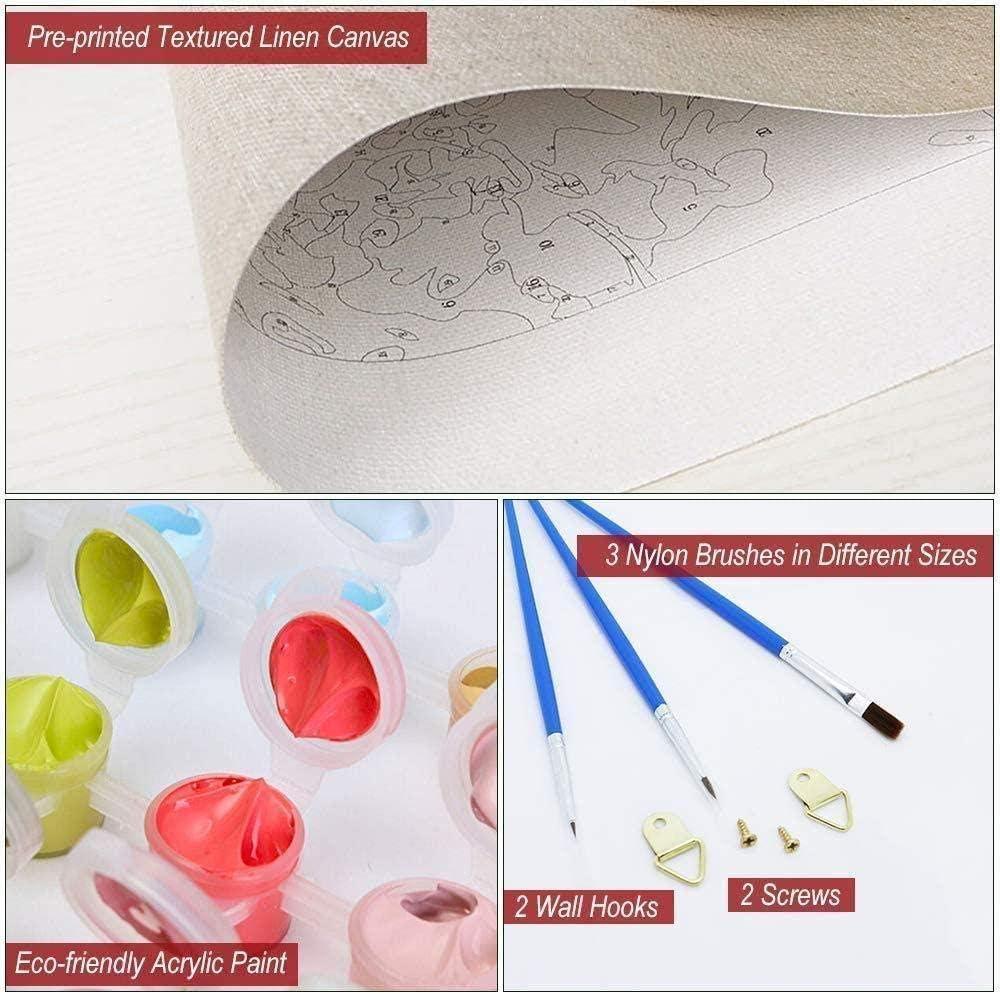 TYUAC DIY Dipingere con i Numeri Maiale con Gli Occhiali per Adulti Bambini Principianti Pittura Digitale Kit Numero QuadriSoggiorn Camera da Letto Decorativo Regalo 40*50cm(Senza Telaio