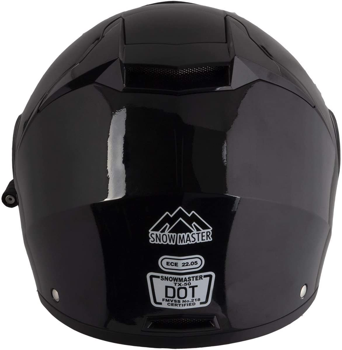 Snow Master TX-50 Glossy Black Modular Dual Use Snowmobile and Street Helmet Small