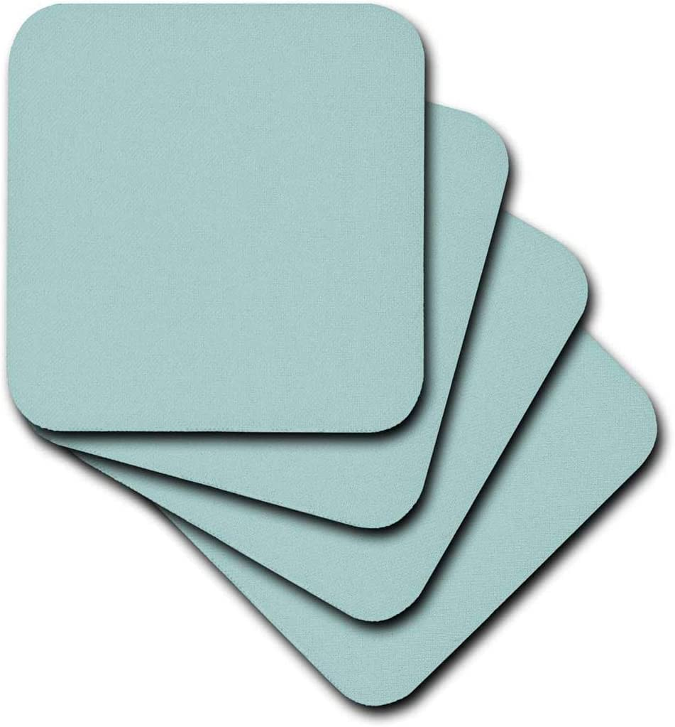 3dRose Plain mint blue - solid color - light turquoise-grey-gray - modern contemporary simple pastel teal - Soft Coasters, set of 4