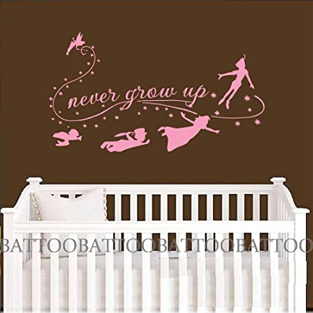 Battoo Children Wall Decal Never Grow Up Quote Fairy Silhouette