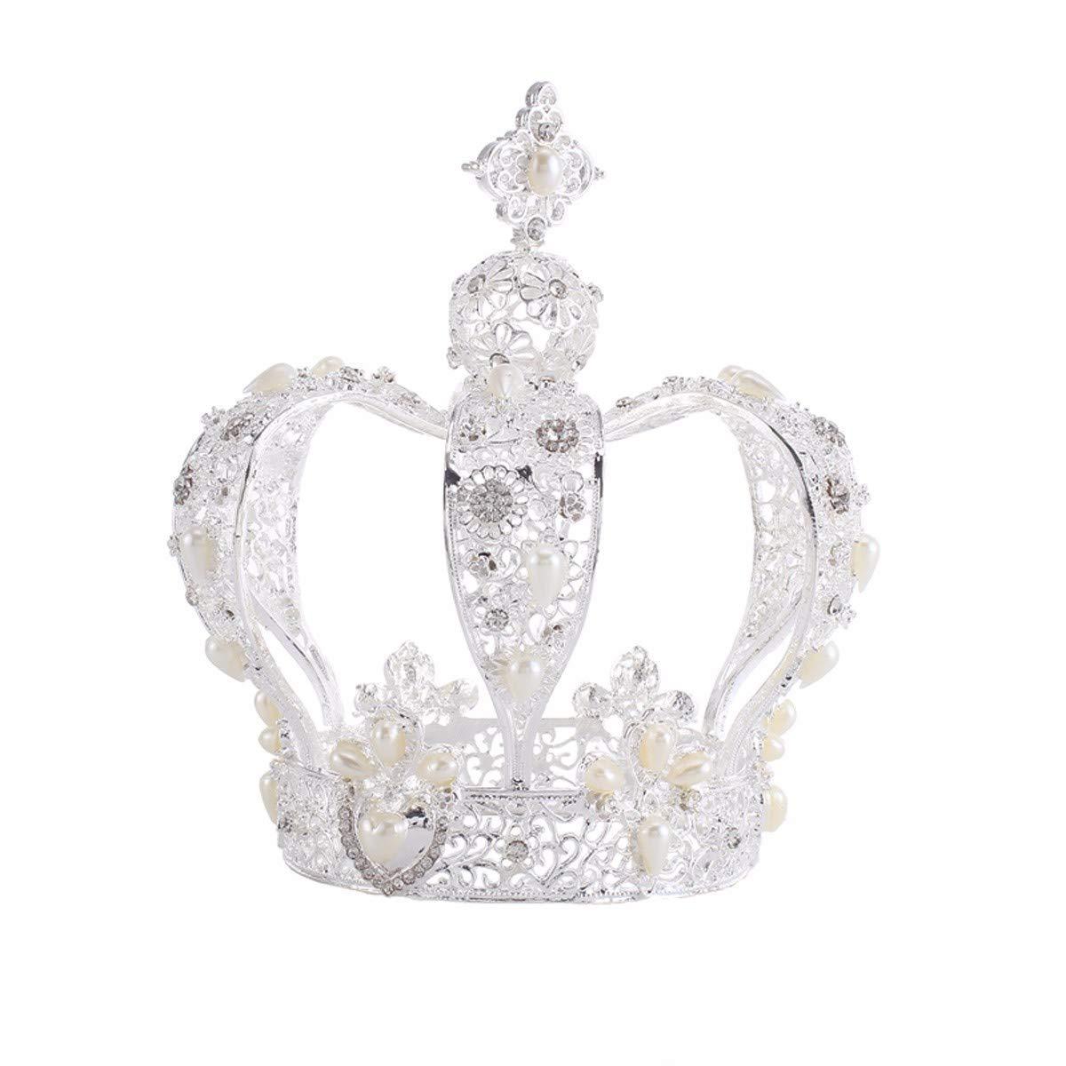 Wedding Crown, Beautiful headdress/Bridal Ornaments Retro Circular Crown Ornaments High-End Baroque Hair Accessories Wedding Accessories (Color : B)