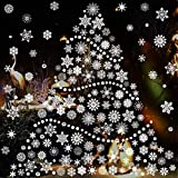 window decoration ideas TMCCE 232 Piece Christmas Snowflake Window Decal Stickers - Xmas Holiday White Winter Christmas Window Decorations Ornaments Party Supplie