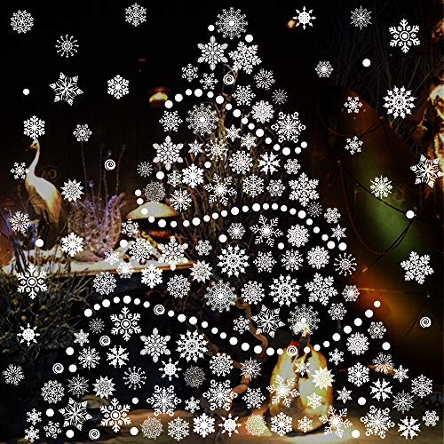 TMCCE 232 Piece Christmas Snowflake Window Decal Stickers - Xmas Holiday White Winter Christmas Window Decorations Ornaments Party Supplie]()