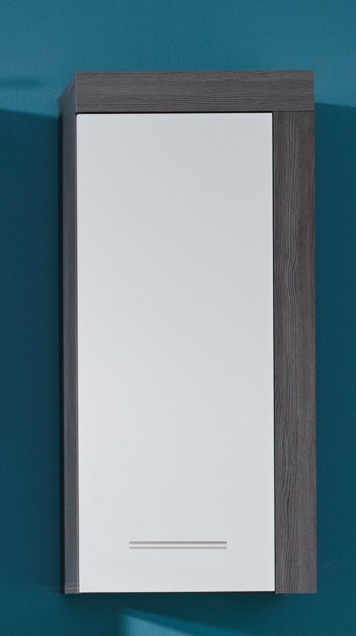 Trendteam Badezimmer Hochschrank Hochschrank Hochschrank Schrank Badezimmerschrank Miami, 36 x 184 x 31 cm in Korpus Rauchsilber Dekor, Front Weiß mit offenem Fach und viel Stauraum 648cff