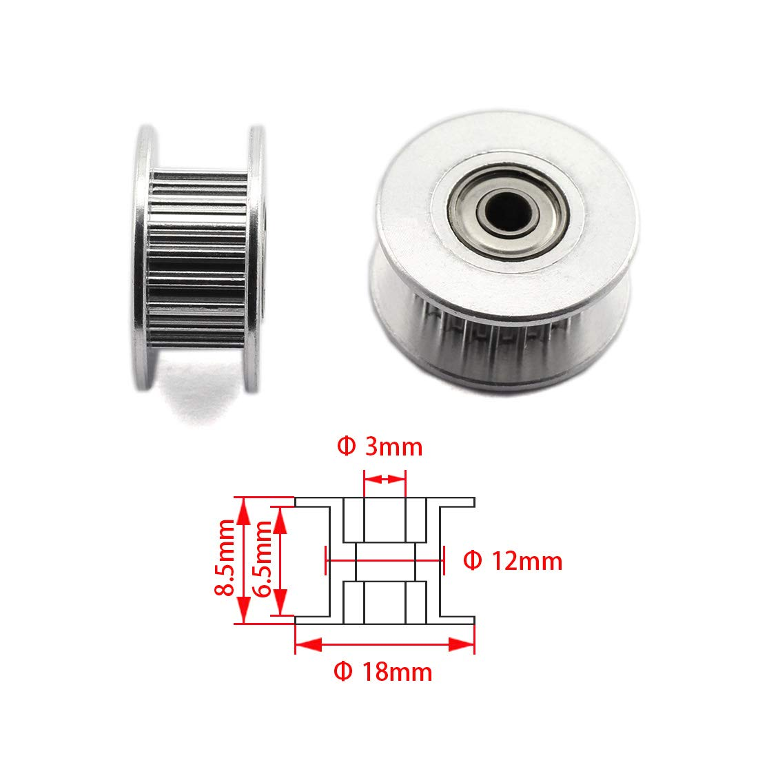 HJ Garden 2pcs 20 Teeth 3mm Bore Idler Timing Pulley with Bearing 2GT Aluminium Alloy H Type GT2 Synchronous Wheel for 6mm Width Belt 3D Printer CNC Mechanical Drive Silver