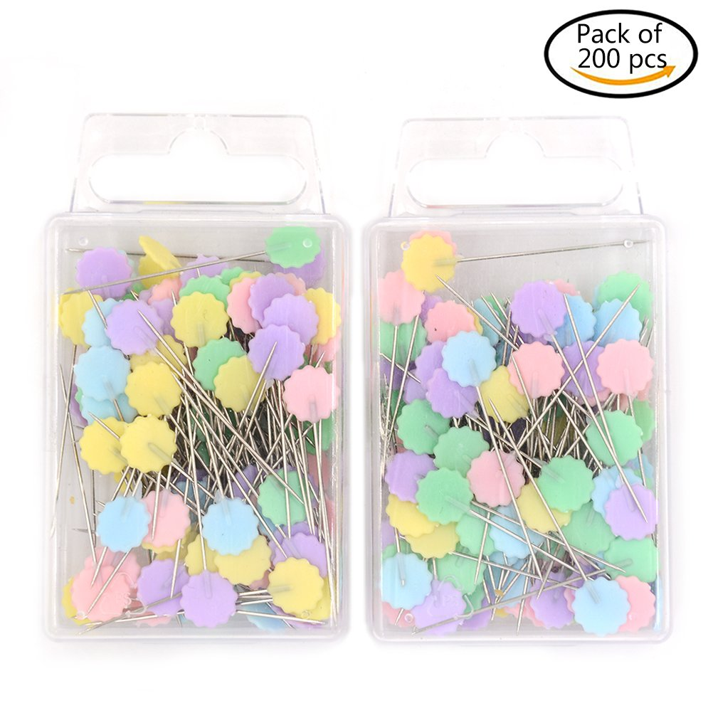 200 PCS Flower Head Pins Straight Plum blossom Pins Flat Flower Head Pins Decorative Safety Pins Boxed For Sewing DIY Pink Welecom Pro-shop