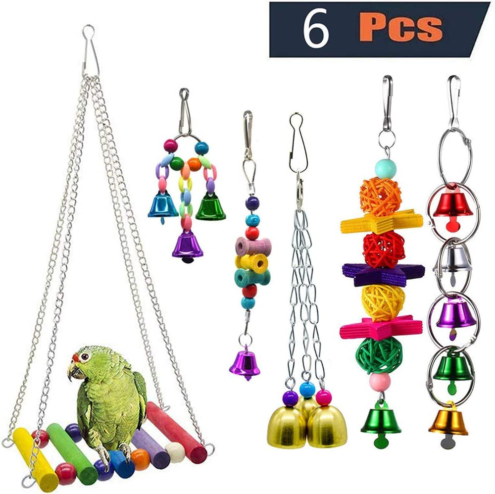 Bird Toy for Parrot,Bird Toy Swing Bird Cage Pendant Bell Colorful Bridge Pet 6PC Combination Suit for Small Parakeets Cockatiels, Conures, Macaws, Parrots, Love Birds, Finches