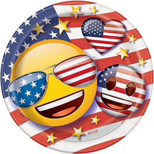 Patriotic Emoji Dinner Plates, 8 Count -