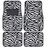 A Set of 4 Universal Fit Animal Print Carpet Floor Mats for Cars / Truck - Zebra White Tiger
