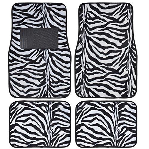 BDK Safari Zebra Print Design Floor Mats for Car, Truck, SUV - Universal Fit Auto Accessories, 4 Pieces (White)