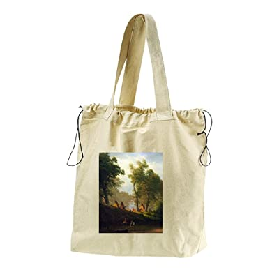 Wolf River Kansas (Bierstadt) Canvas Drawstring Beach Tote Bag
